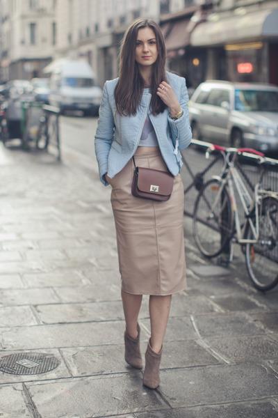 dark khaki Aldo boots - light blue Zara jacket