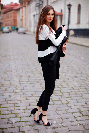 black Sheinside top - nude asos bag - black Sheinside pants - black Zara sandals