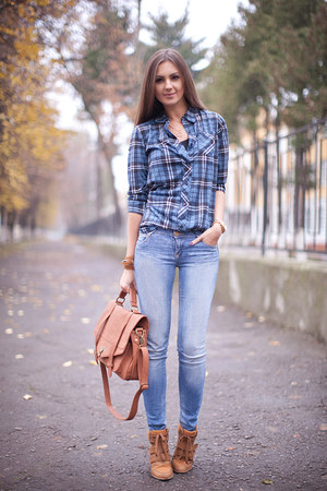 sky blue denim pull&amp;bear jeans - blue plaid nowIStyle shirt