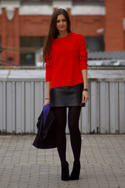 black diy skirts black newlook boots red zara sweaters