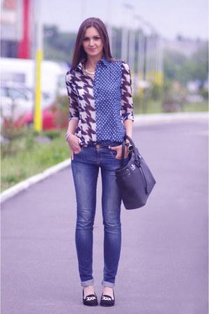 blue Sheinside shirt - black River Island shoes