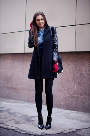 black patent leather Zara boots - black leather sleeve vjstyle coat