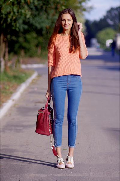 peach asos jumper - light pink OASAP shoes - blue romwe jeans