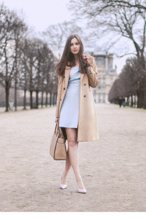 camel Zara coat - light blue inlovewithfashion dress - beige Michael Kors bag