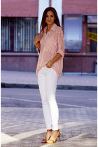 white Glamorous shirt - white denim skinnies Bershka pants