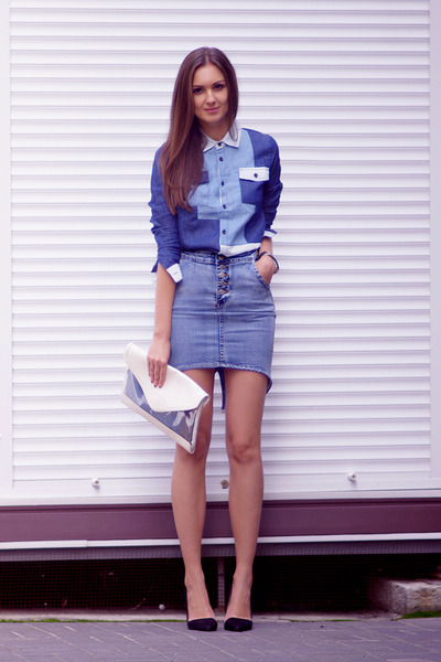 blue asos shirt - white Bershka bag - blue OASAP skirt - black Zara heels