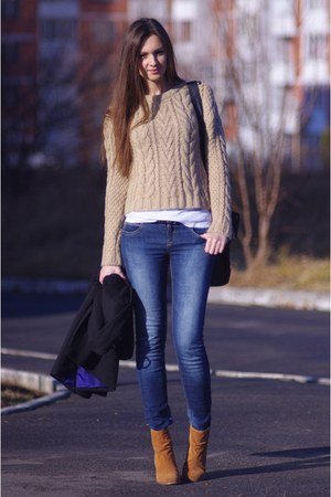 camel Topshop sweater - burnt orange asos boots