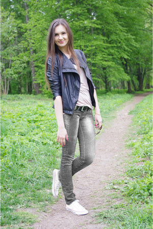black Zara jacket - cream Converse sneakers - beige asos top