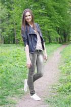 black Zara jacket - cream Converse sneakers - beige asos top
