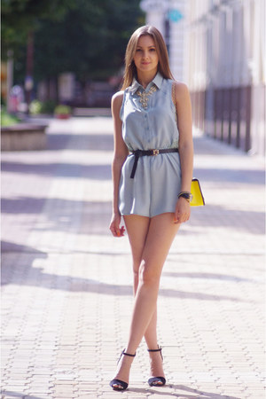 yellow OASAP bag - light blue Glamorous romper - gold Ziba necklace