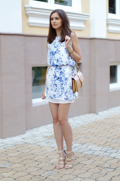 white Sheinside dress - camel OASAP bag - tan cynthia rowley sandals