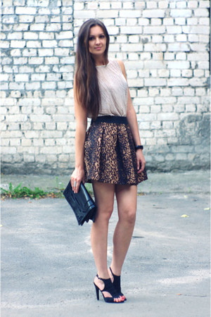 dark brown Zara skirt - black Zara bag - nude DIY top - black Zara sandals