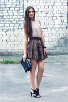 dark brown Zara skirt - black Zara bag - nude DIY top - black Zara sandals