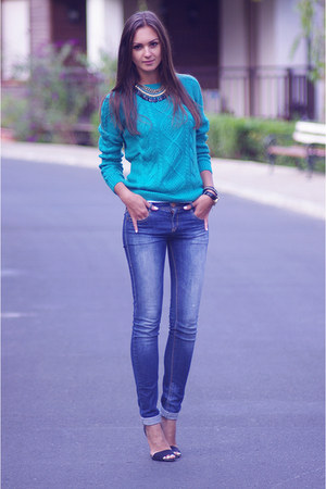 turquoise blue H&M sweater - navy pull&bear jeans - black Zara heels