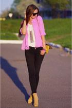 bubble gum vintage shirt - black asos jeans - nude OASAP bag