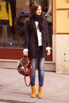 burnt orange asos boots - black H&M coat - brown Newlook bag