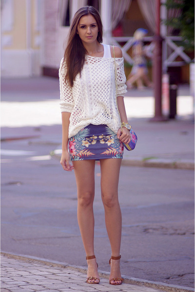 navy pull&bear skirt - white Zara sweater - amethyst H&M bag