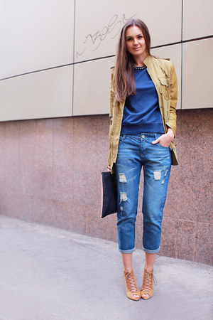 blue denim chicnova jeans - mustard suede Zara boots - camel leather asos jacket