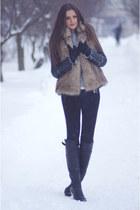 camel Michael Kors vest - black random brand boots