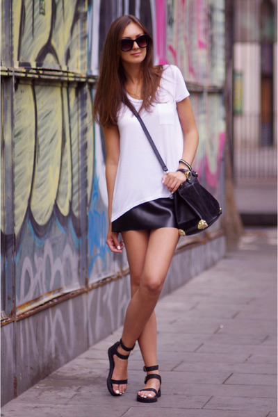 black VJ-style bag - black OASAP sandals - white H&amp;M top - black DIY skirt