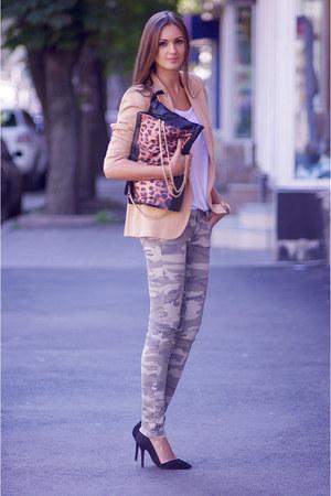 black vjstyle bag - nude Zara blazer - dark khaki pull&bear pants