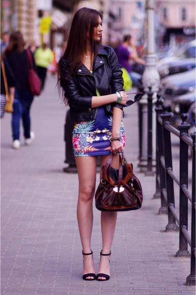 navy pull&bear skirt - black Sheinside jacket