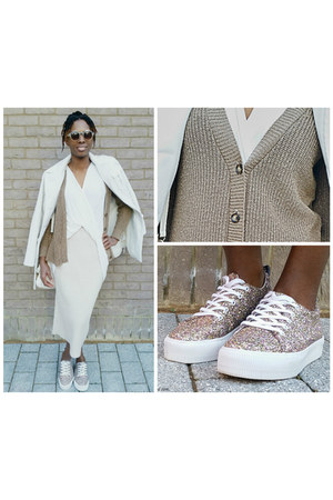 beige skirt - white coat - tan sparkly cardigan - ivory top