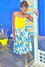White-bag-yellow-mirrored-sunglasses-yellow-vest-blue-pleated-skirt