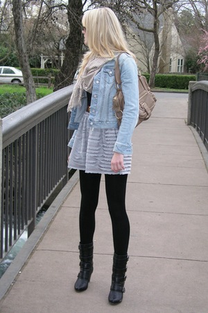 black Forever 21 boots - gray dress - blue Old Navy jacket - beige Michael Kors 
