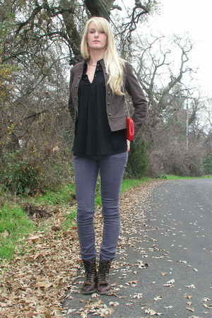 brown boots - purple jeans - black top - brown H&M jacket - red purse - red acce