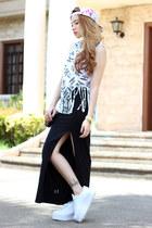 maxi skirt FEMMEX skirt - cap OASAP hat - clutch OASAP bag