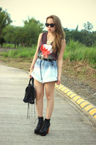 oversized denim pinkaholic shorts - lita Jeffrey Campbell boots - balenciaga bag