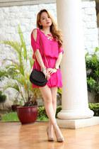 pink femme fatale dress - floral necklace romwe accessories