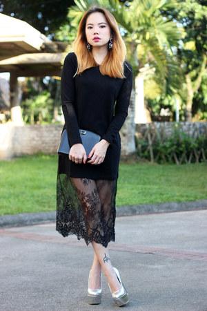 black Front Row Shop dress - lucite heels luxury mall heels