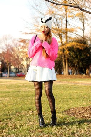 silver metallic pinkaholic skirt