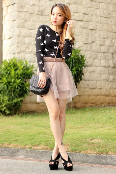 bag Forever21 bag - skort Tailored & Fit skirt - mariel Jeffrey Campbell wedges