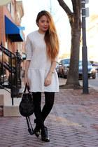leather H&M boots - knit Zara dress