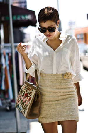 beige skirt - white shirt - brown bag
