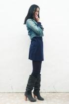 blue denim jacket asos jacket - gray Zara boots