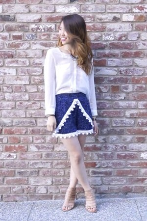 blue cotton DIY shorts - white chiffon romwe shirt