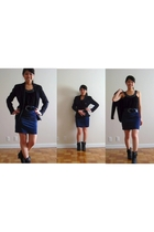 blue Jessica by Christopher Lai blazer - blue Forever 21 skirt - black Forever 2