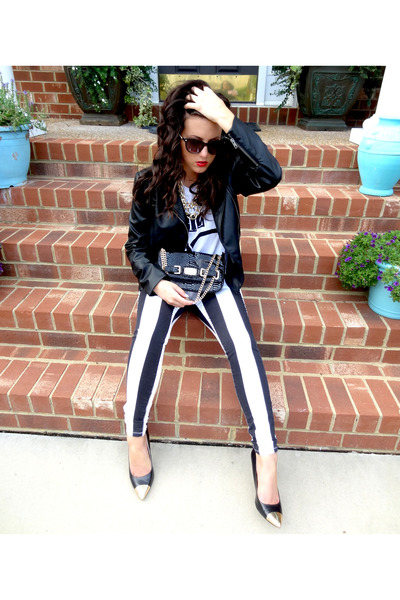 black striped Bebe jeans - black faux leather Mural jacket