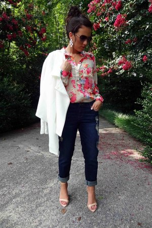 blue KUT from the kloth jeans - cream Forever 21 jacket