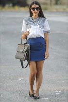 Stradivarius skirt - stripes shirt - H&M necklace - black flats