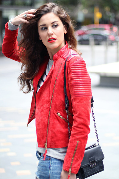 asos jacket - asos jeans - Topshop sweater - Topshop bag - Topshop heels