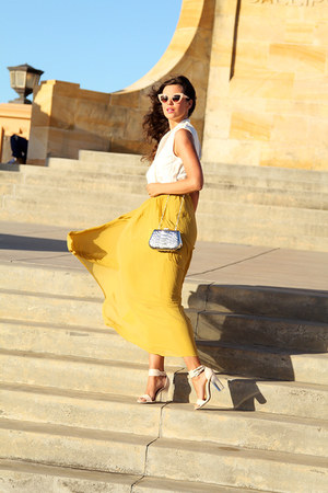 asos skirt - Nude shoes - River Island bag - asos sunglasses - Vero Moda top