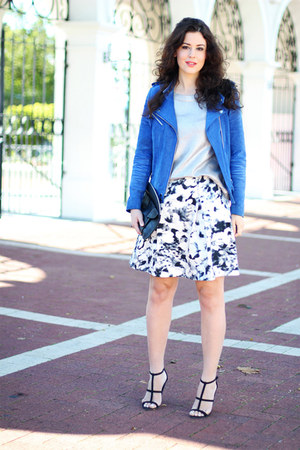 asos skirt - River Island jacket - Topshop sweater - Topshop bag - asos heels