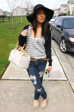 H&M hat - H&M cardigan - H&M flats - Forever21 ring - Urban Outfitters necklace