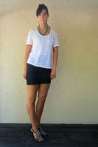 forever 21 shirt - forever 21 skirt - Charles David shoes - vintage necklace - v