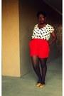 Polka-dot-ross-shirt-red-thrift-store-shorts-studded-yellow-forever21-flats